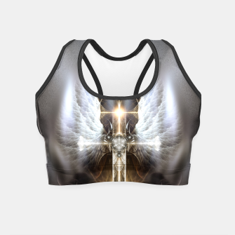 Miniaturka Heavenly Angel Wing Cross Vintage Satin Fractal Art Composition Crop Top, Live Heroes