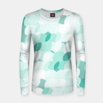 Thumbnail image of Teal blue abstract fluffy clouds, soft blue summer design Women sweater, Live Heroes