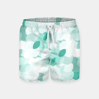 Thumbnail image of Teal blue abstract fluffy clouds, soft blue summer design Swim Shorts, Live Heroes