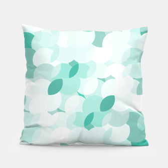 Thumbnail image of Teal blue abstract fluffy clouds, soft blue summer design Pillow, Live Heroes