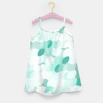 Thumbnail image of Teal blue abstract fluffy clouds, soft blue summer design Girl's dress, Live Heroes
