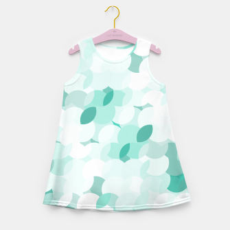 Thumbnail image of Teal blue abstract fluffy clouds, soft blue summer design Girl's summer dress, Live Heroes