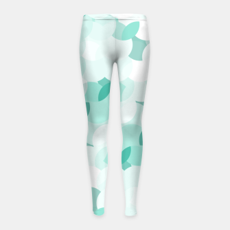 Thumbnail image of Teal blue abstract fluffy clouds, soft blue summer design Girl's leggings, Live Heroes