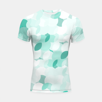 Thumbnail image of Teal blue abstract fluffy clouds, soft blue summer design Shortsleeve rashguard, Live Heroes