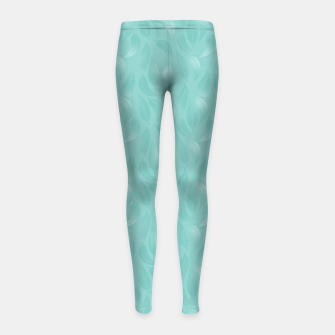 Thumbnail image of Bleached Coral Aqua Leaves  Girl's leggings, Live Heroes