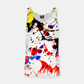 Miniatur Blue Red Black Paint Splatter Tank Top, Live Heroes