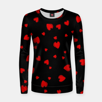 Thumbnail image of Red Hearts on Black Women sweater, Live Heroes