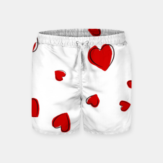 Thumbnail image of Red Hearts on White Swim Shorts, Live Heroes