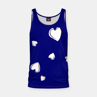 Thumbnail image of White Hearts on Navy Blue Tank Top, Live Heroes