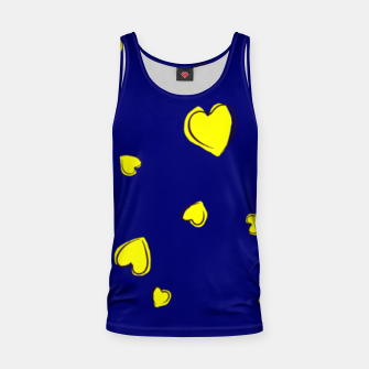 Thumbnail image of Yellow  Hearts on Navy Blue Tank Top, Live Heroes