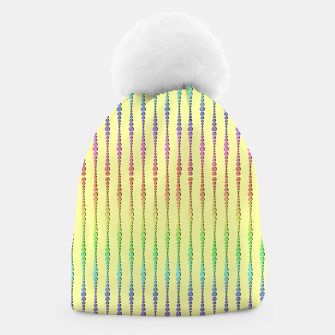 Thumbnail image of Mod Rainbow Bead Strings on Yellow Beanie, Live Heroes