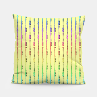 Thumbnail image of Mod Rainbow Bead Strings on Yellow Pillow, Live Heroes