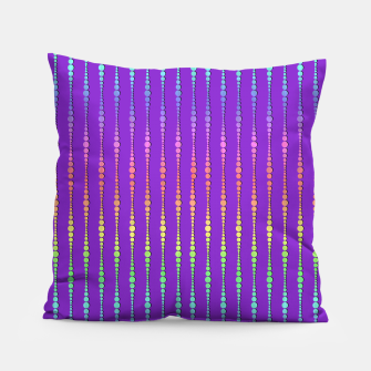 Thumbnail image of Mod Rainbow Bead Strings on Purple Pillow, Live Heroes
