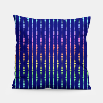 Thumbnail image of Mod Rainbow Bead Strings on Blue Pillow, Live Heroes