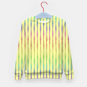 Thumbnail image of Mod Rainbow Bead Strings on Yellow Kid's sweater, Live Heroes