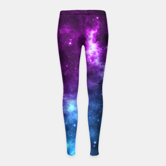 Thumbnail image of moon and space Girl's leggings, Live Heroes