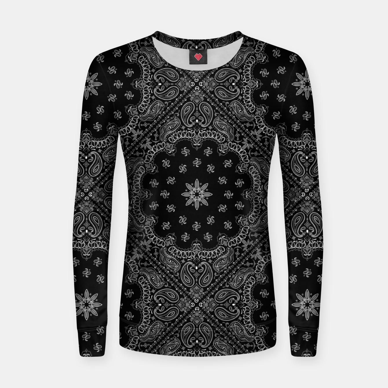 Image of Black and White Bandanna Squares Women sweater - Live Heroes