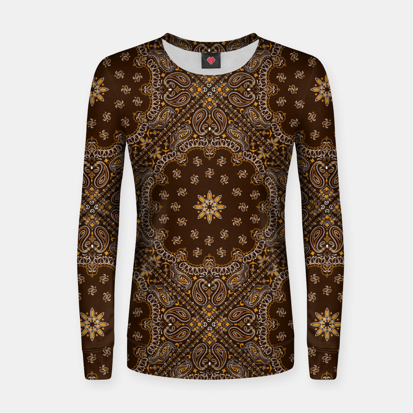 Image of Brown Bandanna Squares Women sweater - Live Heroes