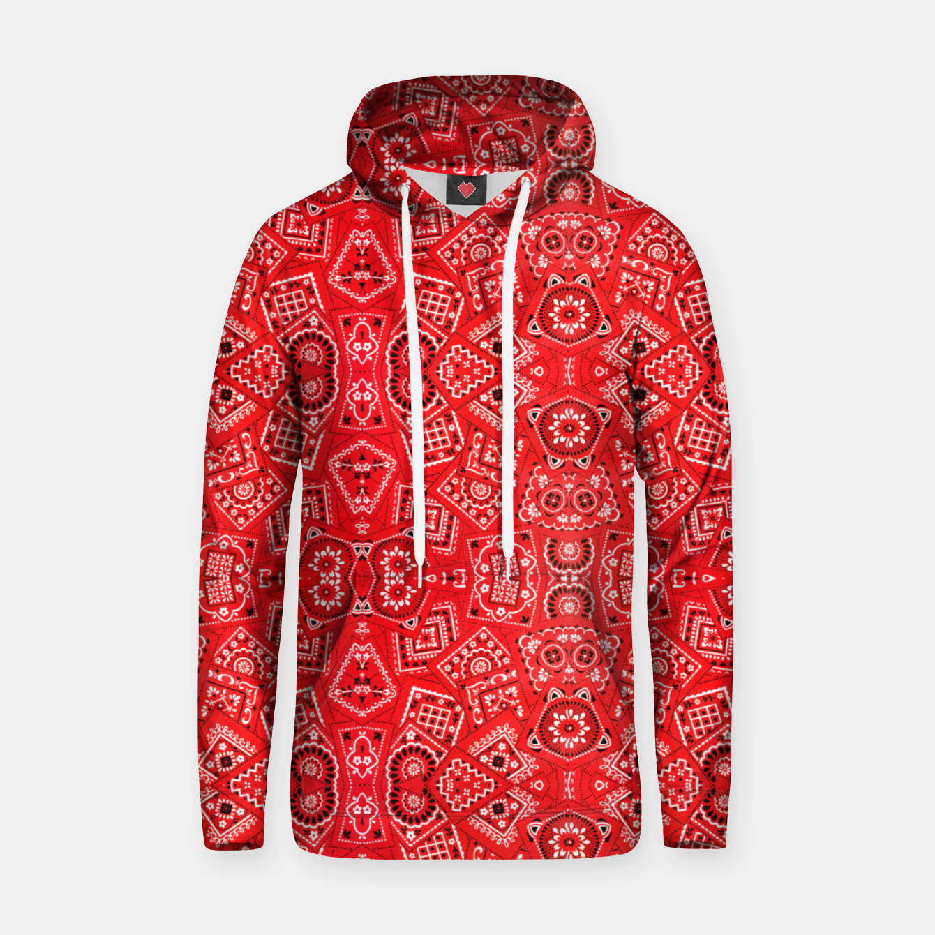 Image of Red Bandanna Squares  Hoodie - Live Heroes