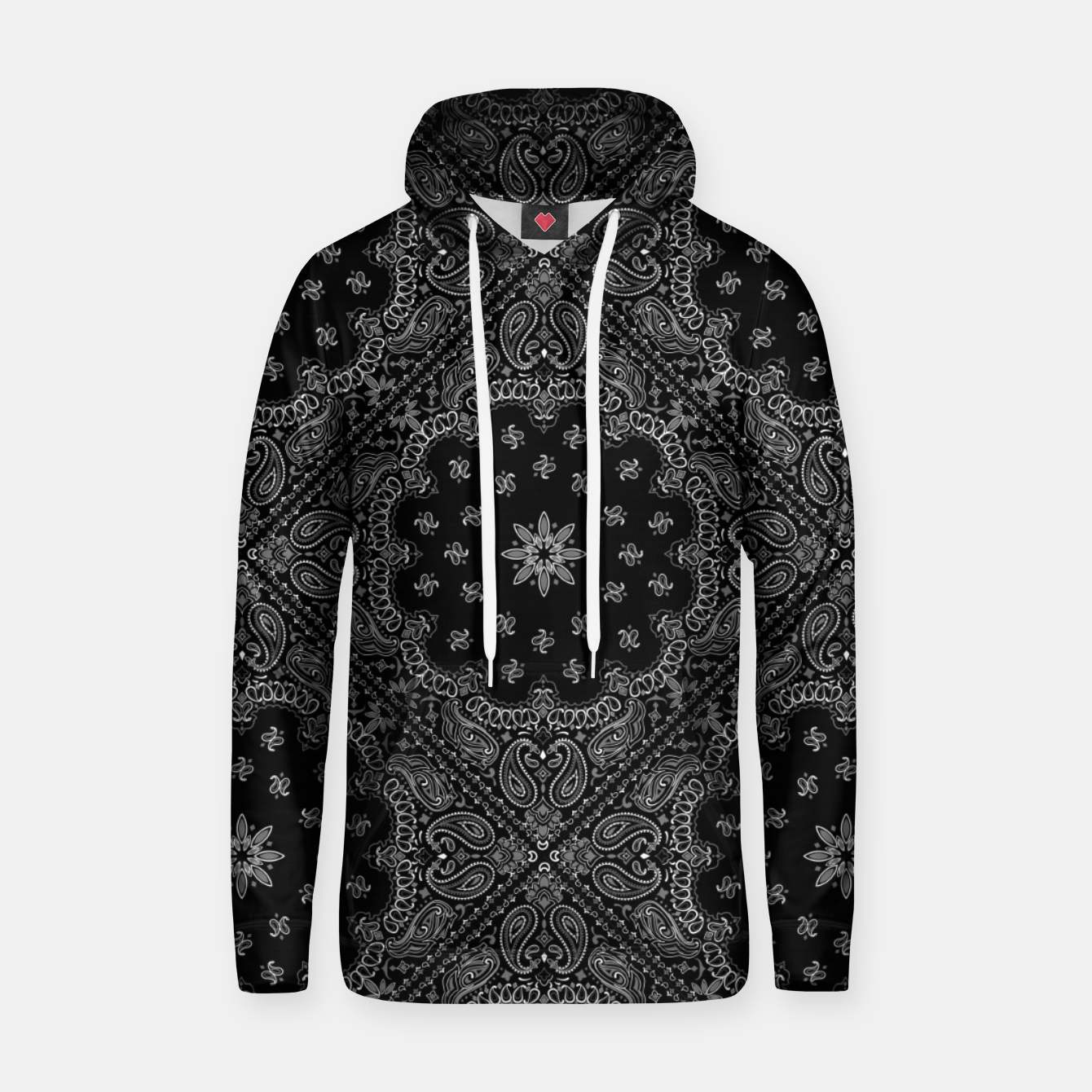 Image of Black and White Bandanna Squares Hoodie - Live Heroes