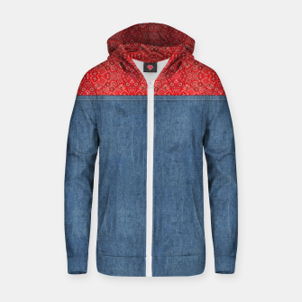 Denim Look and Bandanna Zip up hoodie thumbnail image