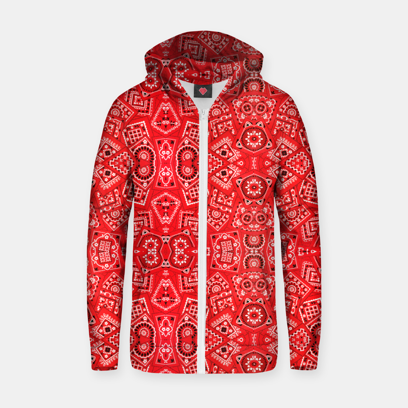 Image of Red Bandanna Squares  Zip up hoodie - Live Heroes