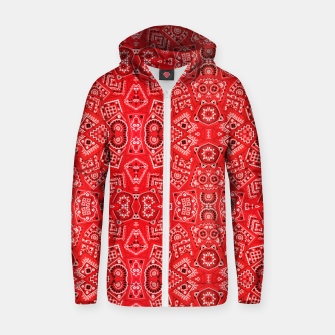 Red Bandanna Squares  Zip up hoodie thumbnail image