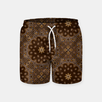 Brown Bandanna Squares Swim Shorts thumbnail image