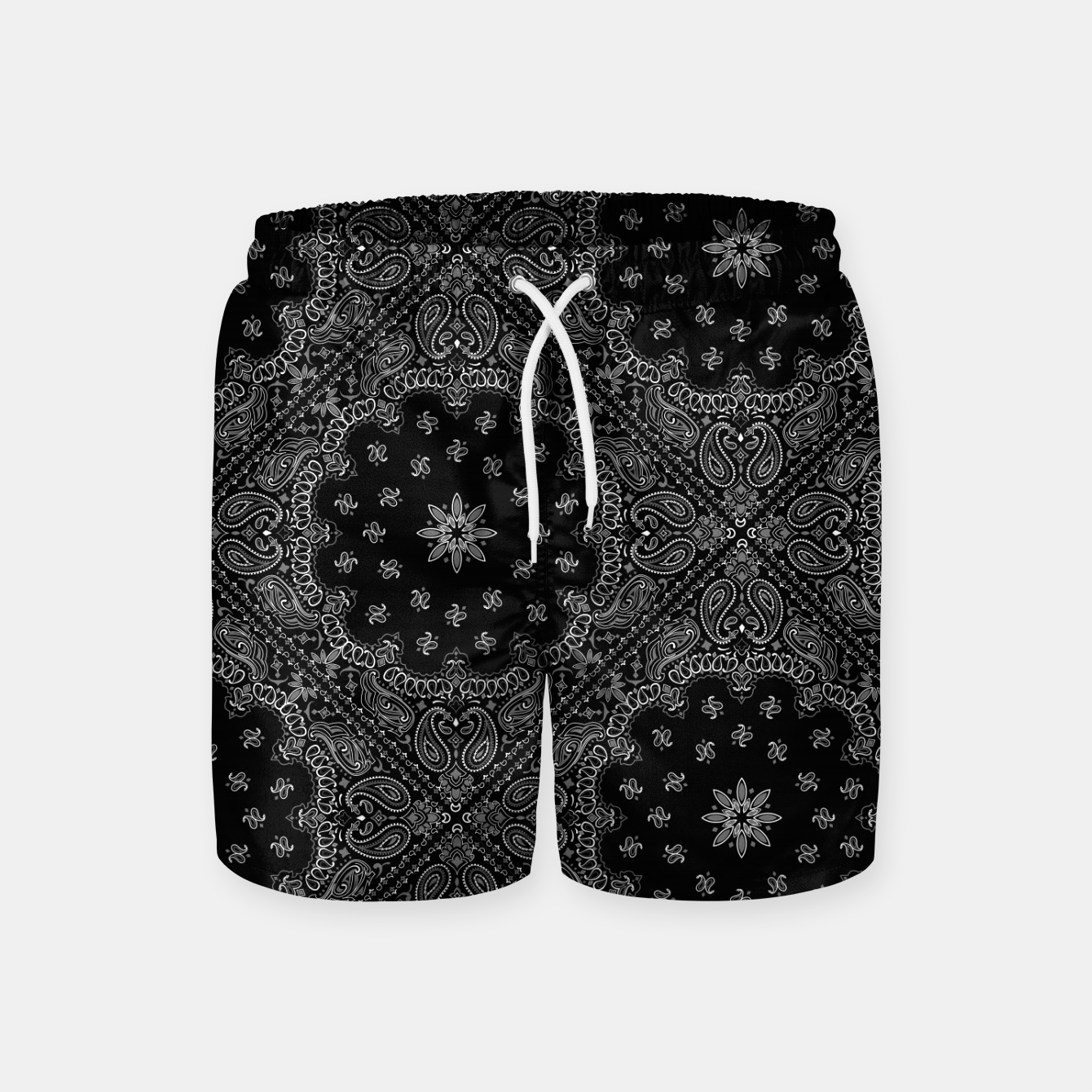 Image of Black and White Bandanna Squares Swim Shorts - Live Heroes