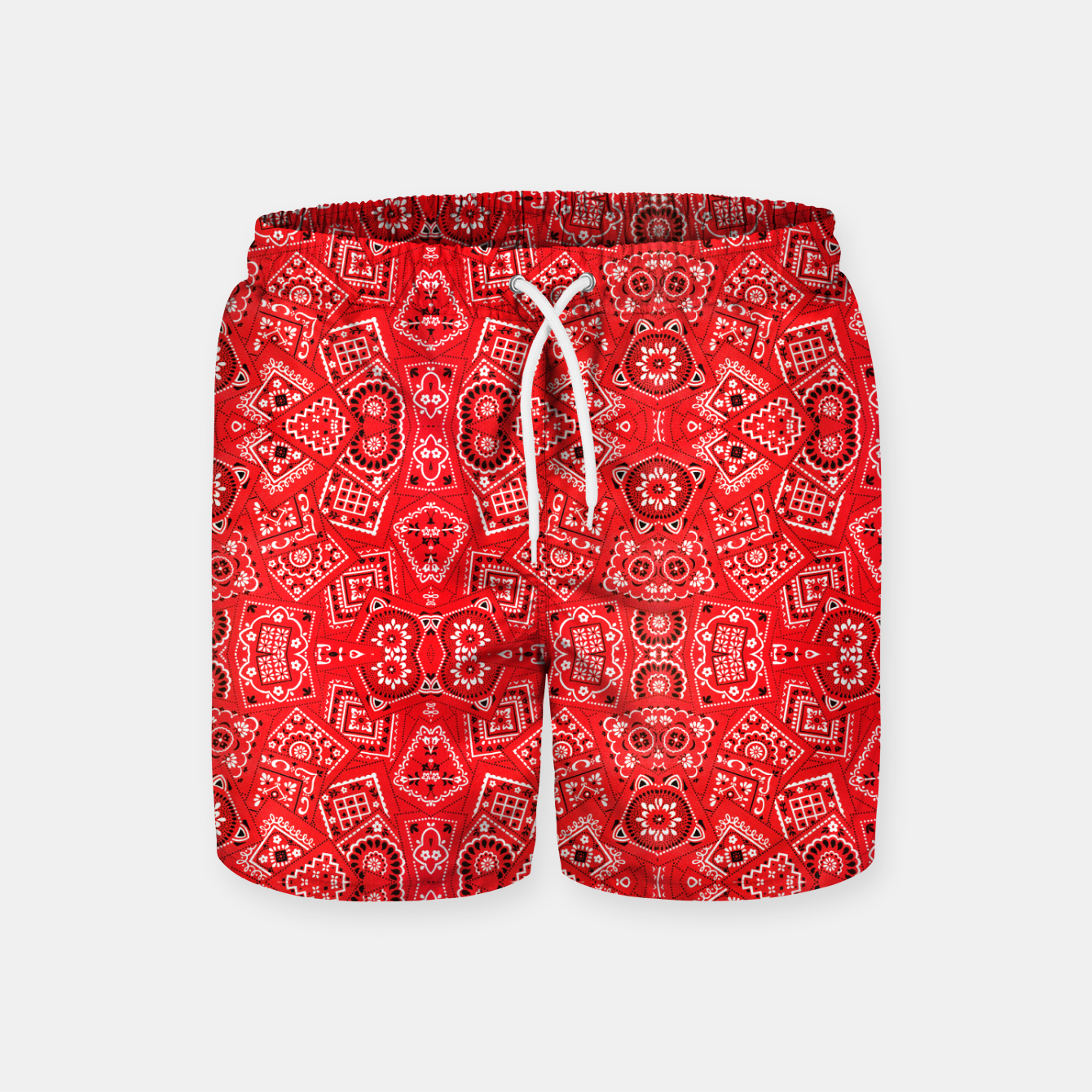 Image of Red Bandanna Squares  Swim Shorts - Live Heroes