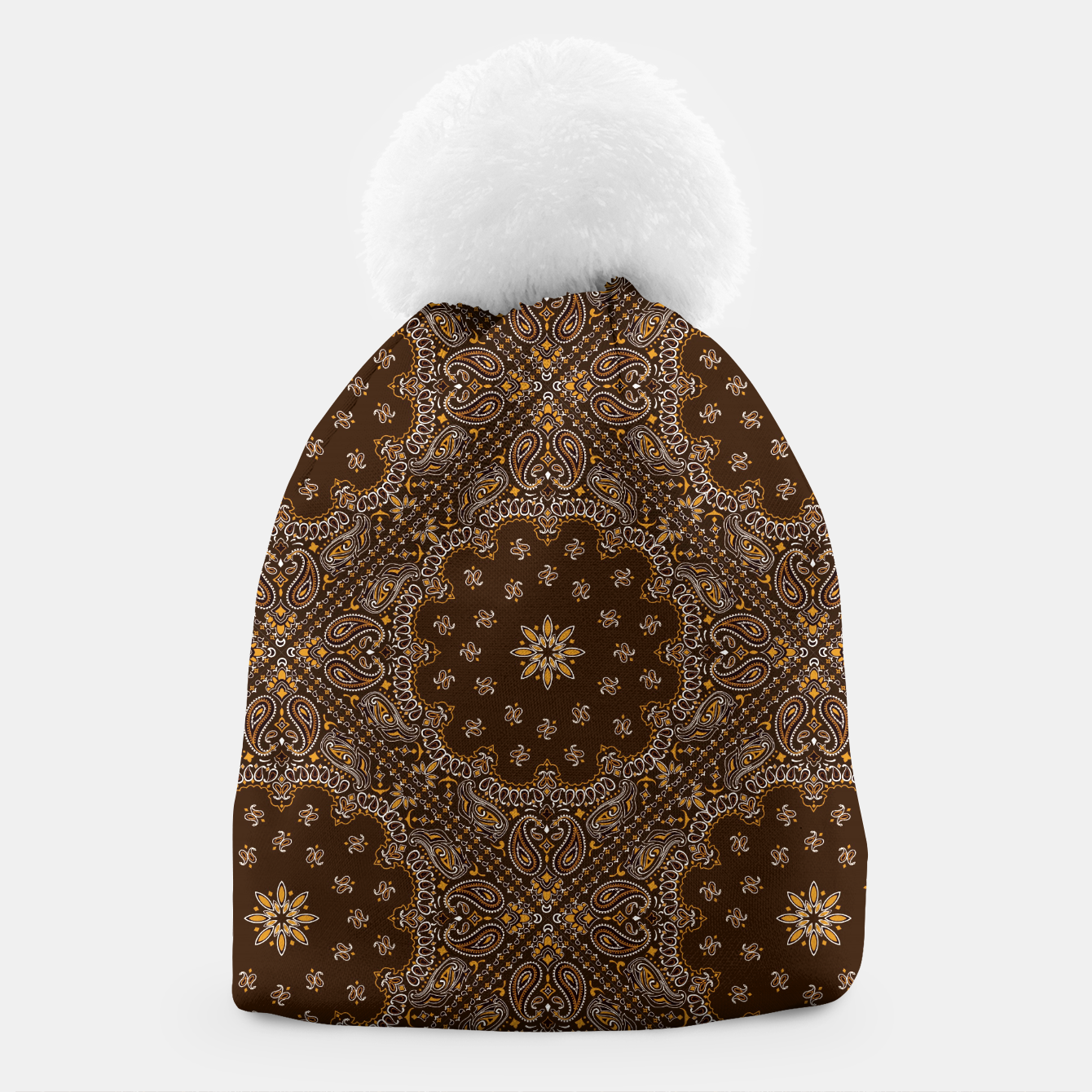 Image of Brown Bandanna Squares Beanie - Live Heroes