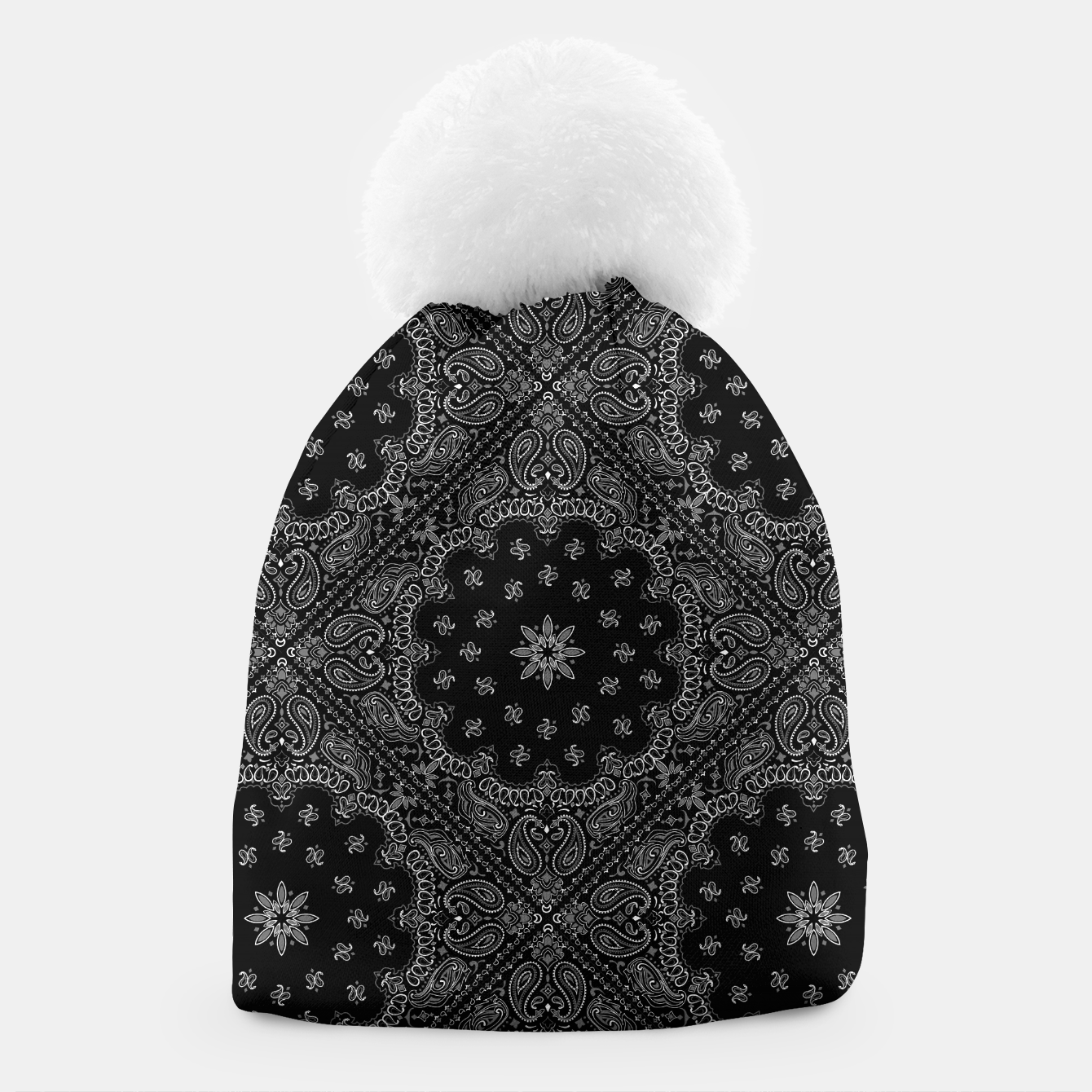 Image of Black and White Bandanna Squares Beanie - Live Heroes