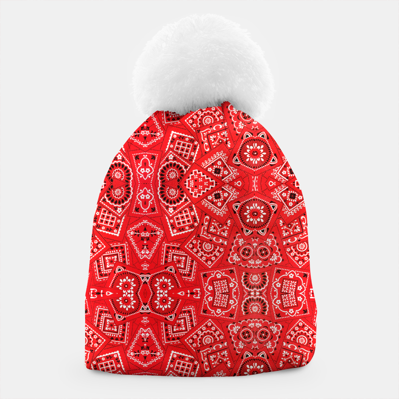 Image of Red Bandanna Squares  Beanie - Live Heroes