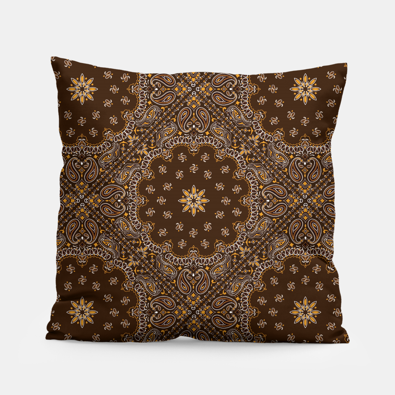 Image of Brown Bandanna Squares Pillow - Live Heroes