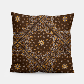 Brown Bandanna Squares Pillow thumbnail image
