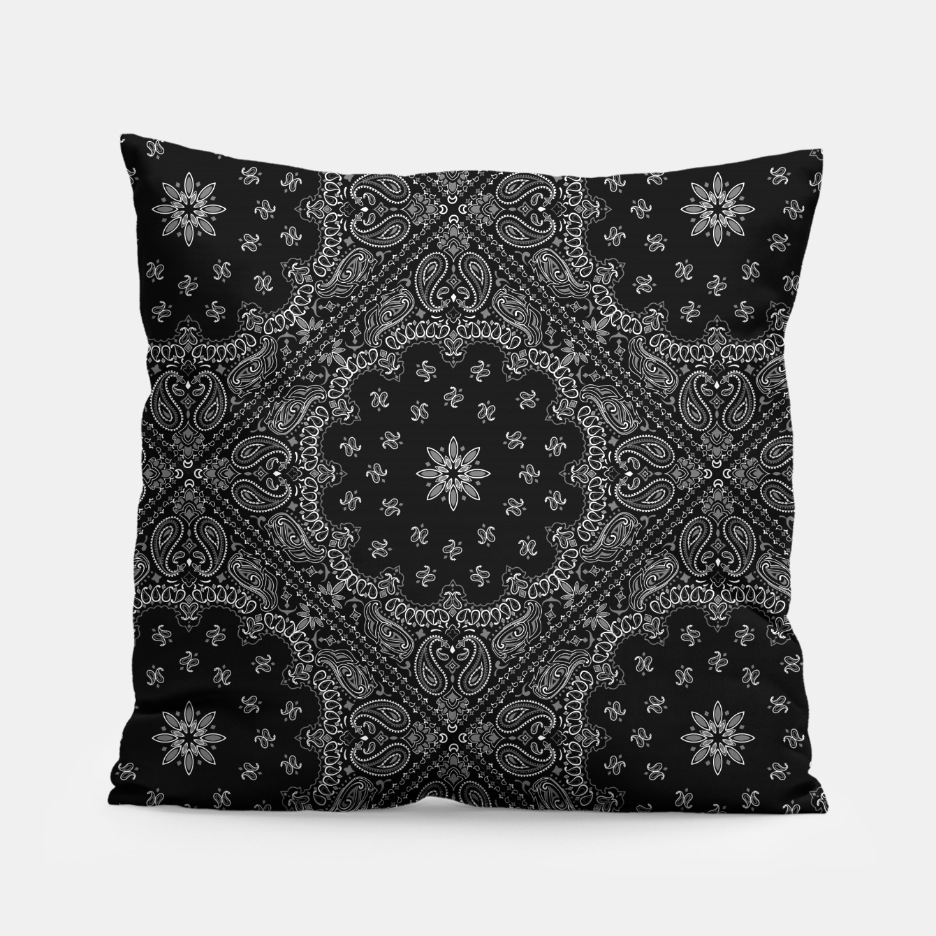 Image of Black and White Bandanna Squares Pillow - Live Heroes