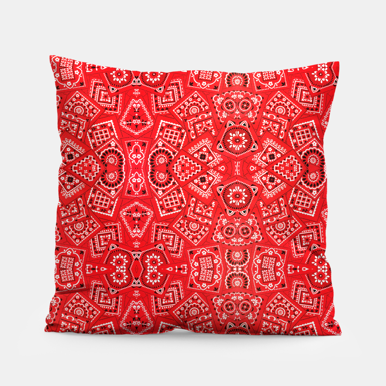 Image of Red Bandanna Squares  Pillow - Live Heroes