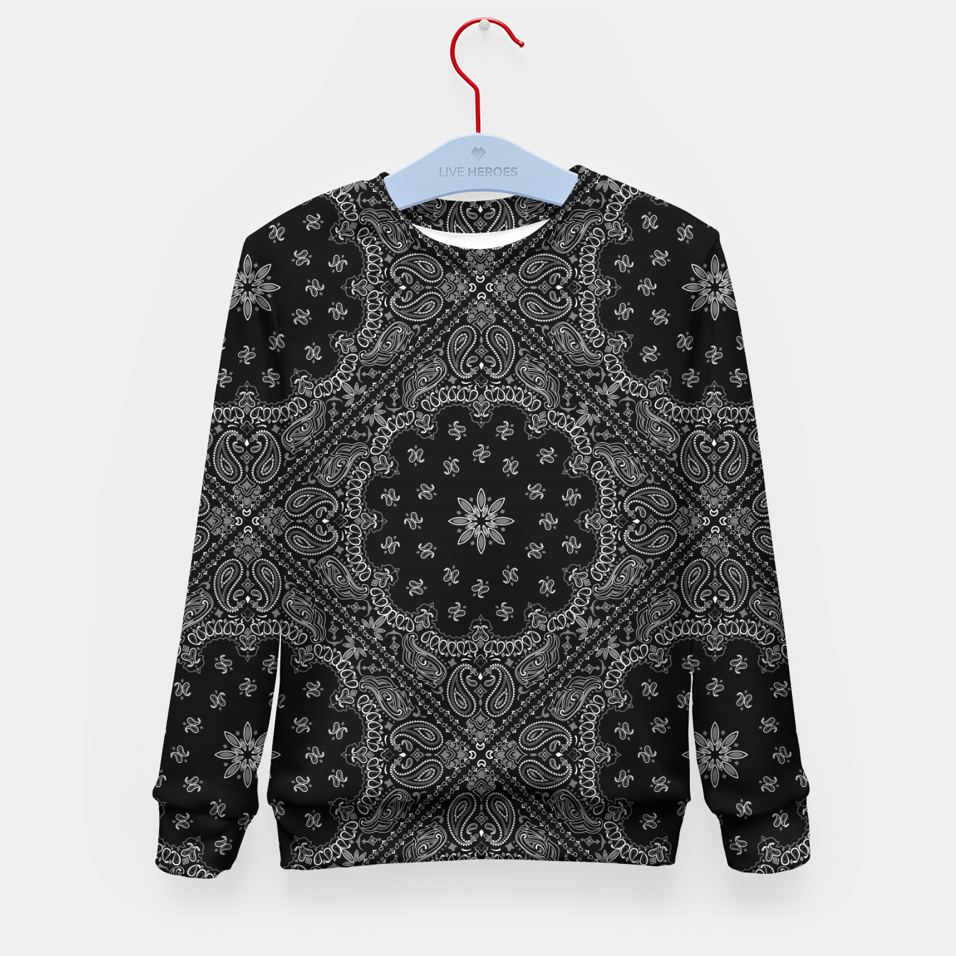 Image of Black and White Bandanna Squares Kid's sweater - Live Heroes