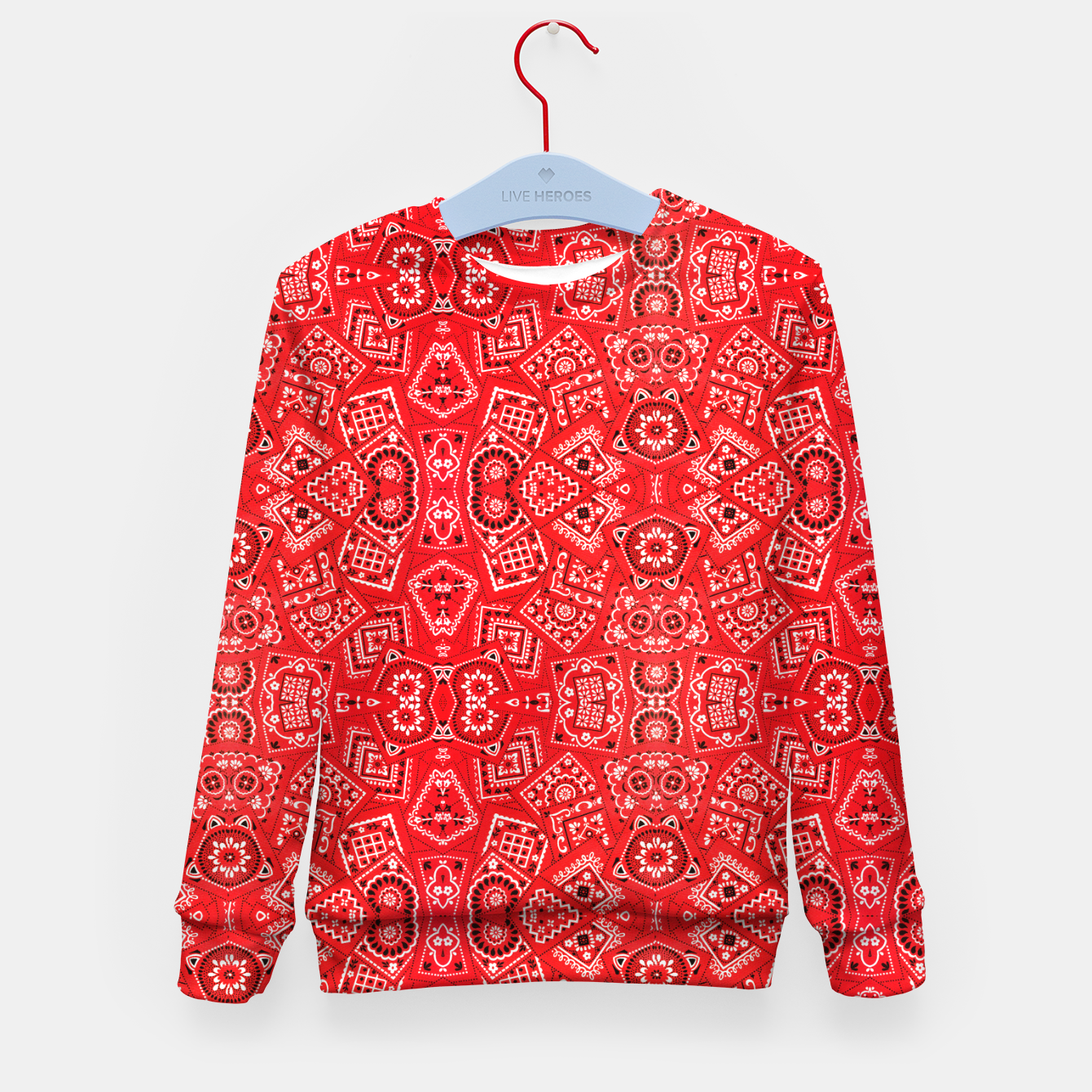 Image of Red Bandanna Squares  Kid's sweater - Live Heroes