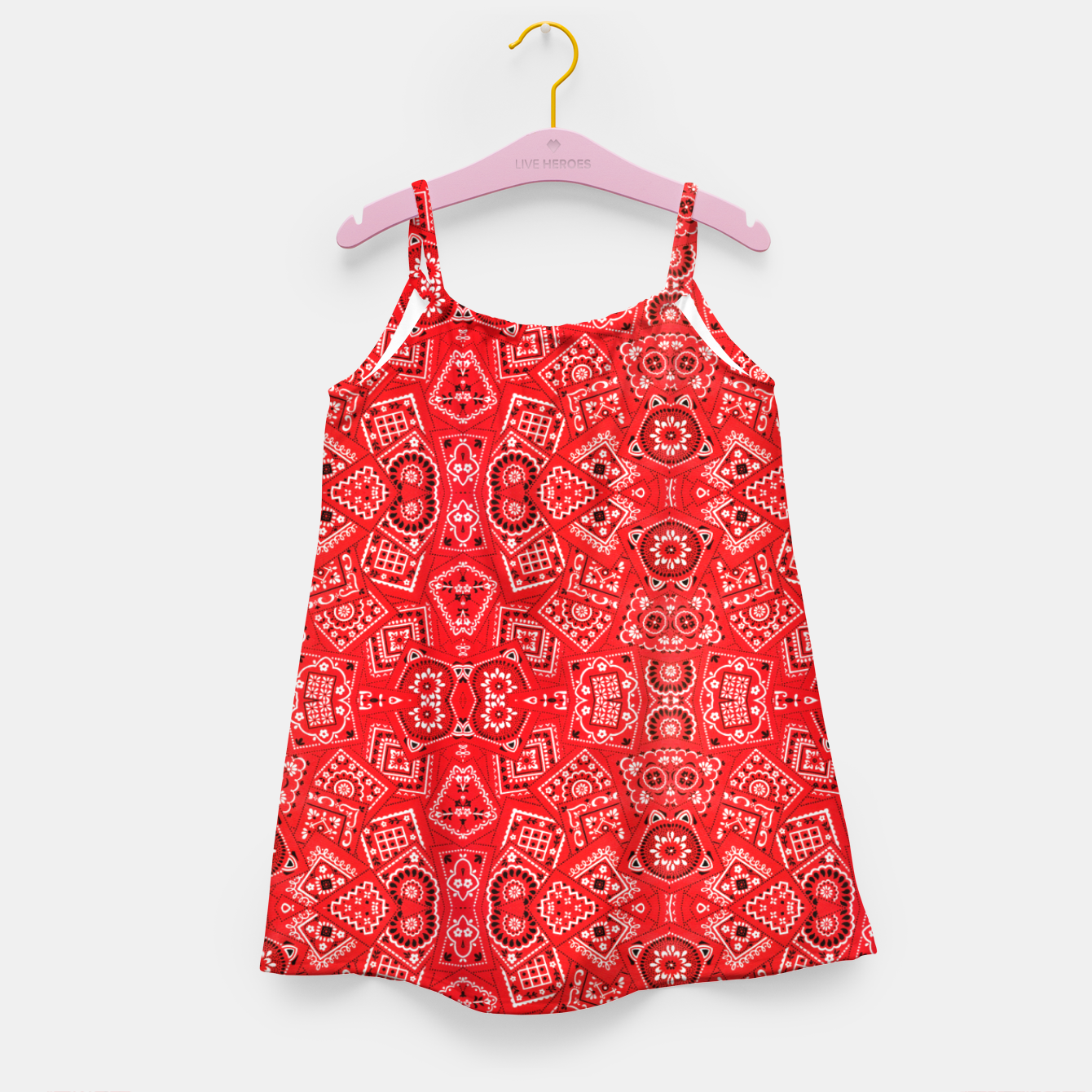 Image of Red Bandanna Squares  Girl's dress - Live Heroes