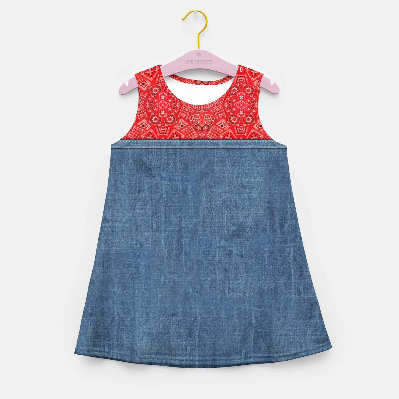 Image of Denim Look and Bandanna Girl's summer dress - Live Heroes
