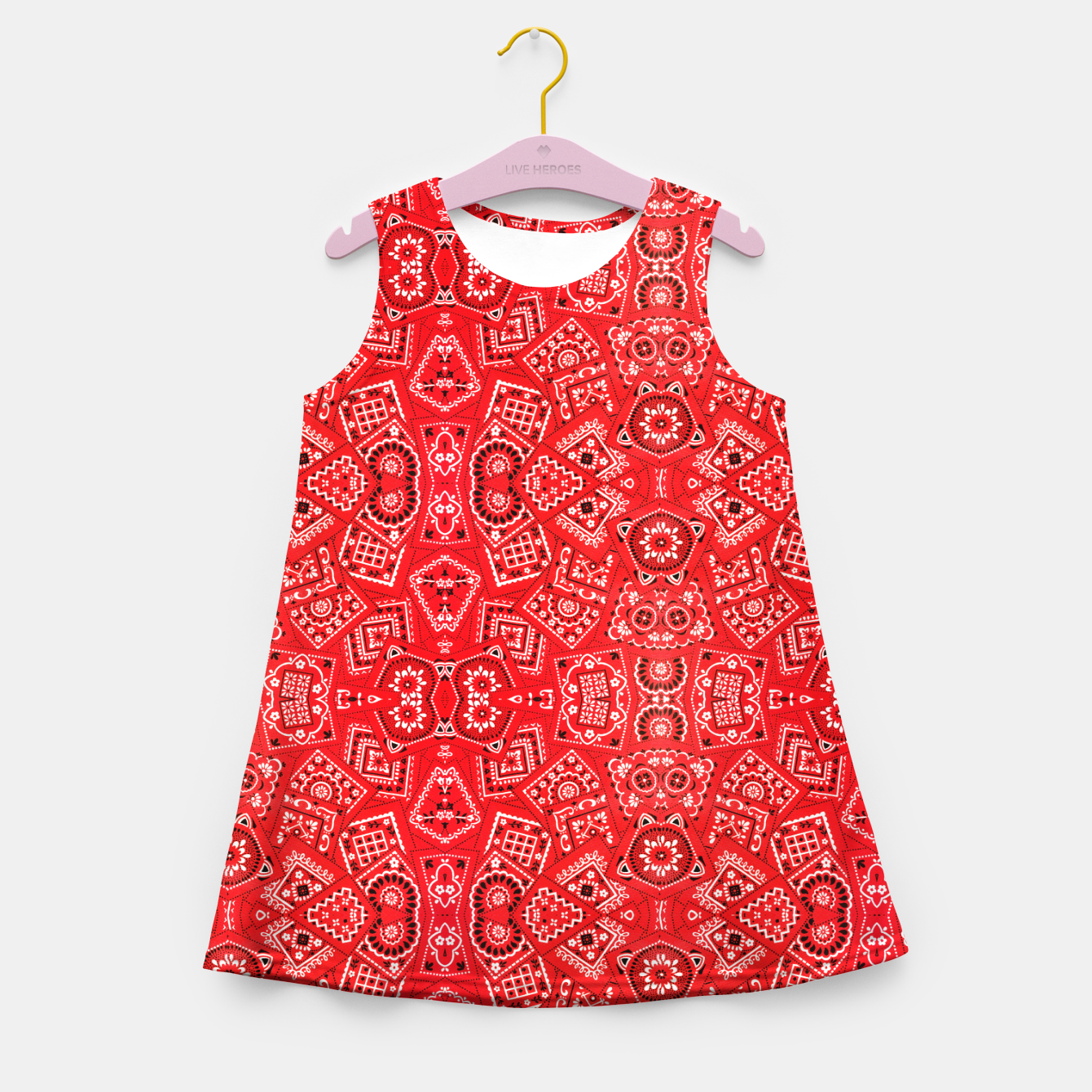 Image of Red Bandanna Squares  Girl's summer dress - Live Heroes