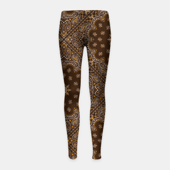 Brown Bandanna Squares Girl's leggings thumbnail image