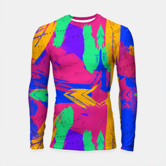 Miniatur Paint Brush Strokes Long Sleeve Rashguard, Live Heroes