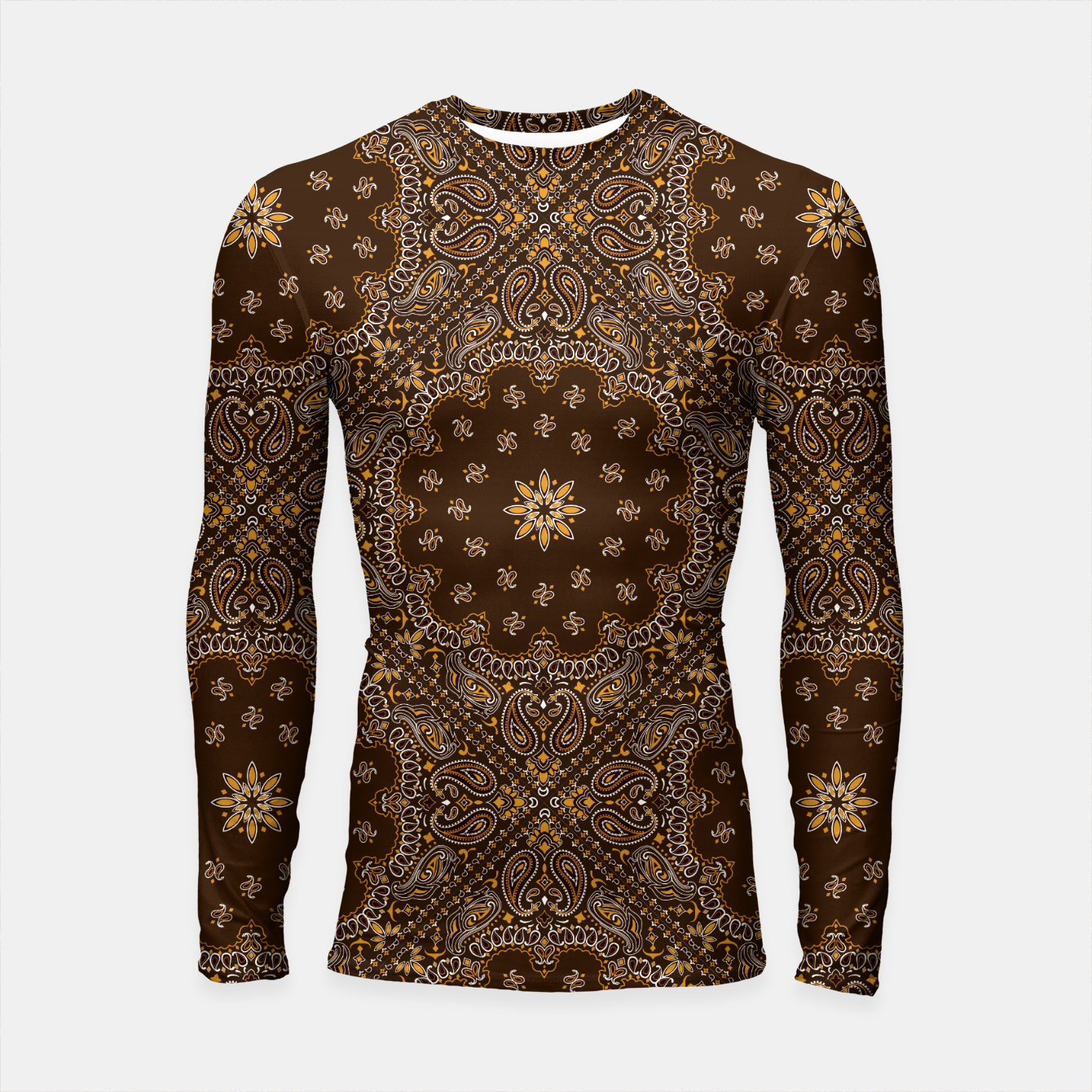 Image of Brown Bandanna Squares Long Sleeve Rashguard - Live Heroes