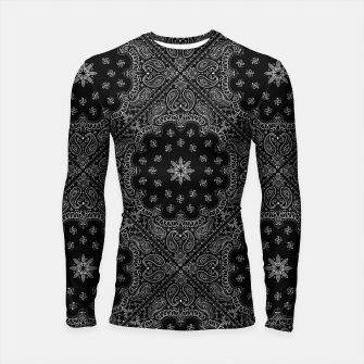 Miniatur Black and White Bandanna Squares Long Sleeve Rashguard, Live Heroes