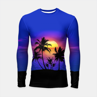 Miniatur Tropical Island Sunset Long Sleeve Rashguard, Live Heroes
