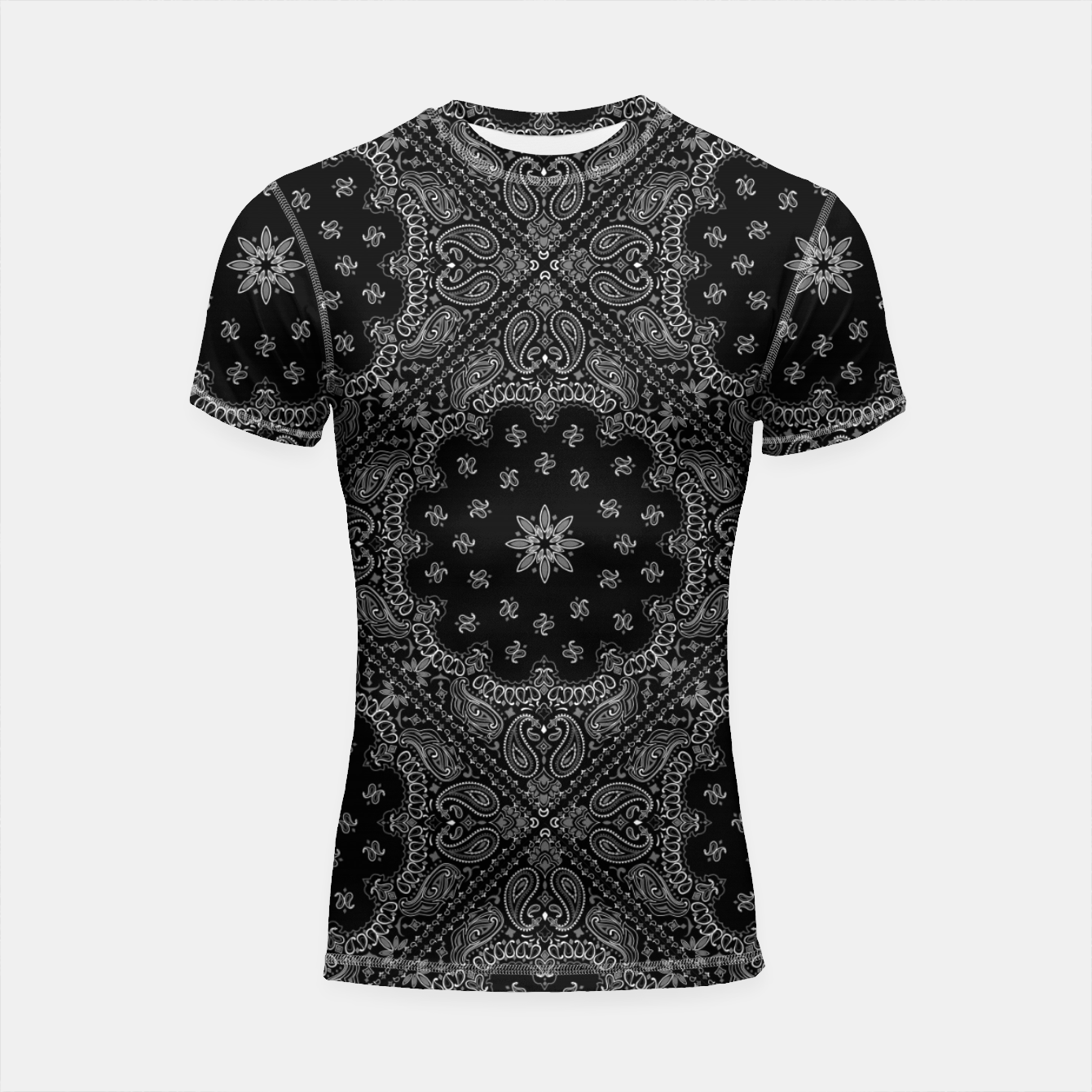 Image of Black and White Bandanna Squares Short Sleeve Rashguard - Live Heroes