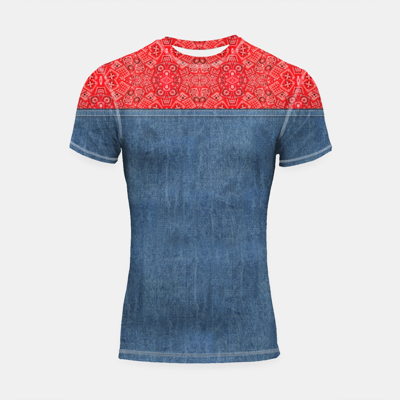 Image of Denim Look and Bandanna Short Sleeve Rashguard - Live Heroes