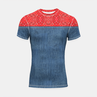 Thumbnail image of Denim Look and Bandanna Short Sleeve Rashguard, Live Heroes
